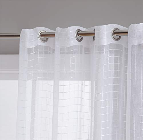 (HLC.ME Buffalo Check Gingham Semi Sheer Voile Window Curtain Grommet Panels for Small Windows - Perfect for Bathroom & Kitchen - Set of 2 (White, 54