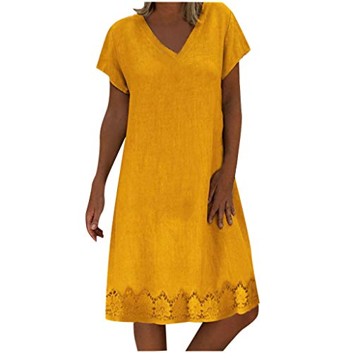 TRENDINAO Women Dresses for Special Occasions T-Shirt Dress Casual Solid Print Short Sleeve V Neck Loose Summer Yellow