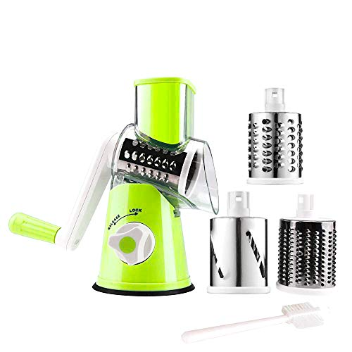 (Manual Rotary Cheese Grater Parmesan Cheese Shredder for Food Vegetable Potato Carrot Nuts Grind with Cleaning Brush(green))