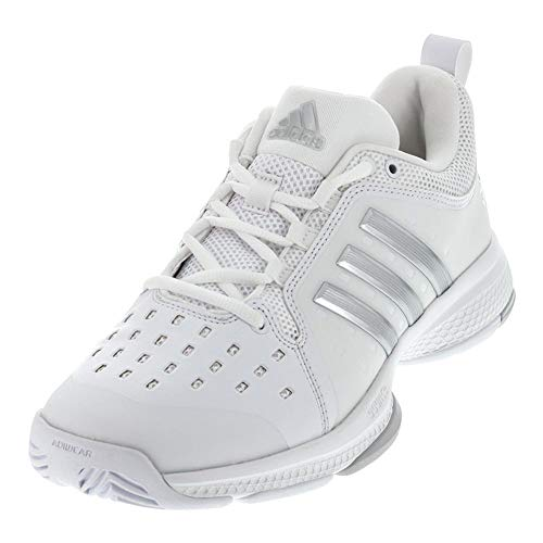 adidas Women's Barricade Classic Bounce Tennis Shoes, White/Metallic Silver/Light Solid Grey Heather, (10.5 M US)