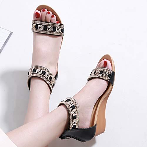 Bohême Compensé Grande Confortables Bohème Métal Milieu Coins Femmes Des Talon Chaussures 2019 Strass Taille Sandales Romaines Noir Mode 7n4qawOt