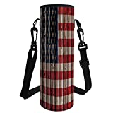 iPrint Water Bottle Sleeve Neoprene Bottle Cover,4th July Decor,Happy National Day Liberty Freedom Democracy Country Patriarchal Graphic,Pink Blue,Great Stainless Steel Plastic/Glass Bottles, Spor