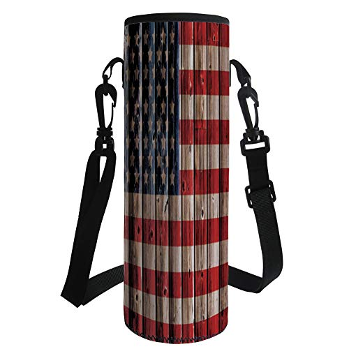 iPrint Water Bottle Sleeve Neoprene Bottle Cover,4th July Decor,Happy National Day Liberty Freedom Democracy Country Patriarchal Graphic,Pink Blue,Great Stainless Steel Plastic/Glass Bottles, Spor by iPrint