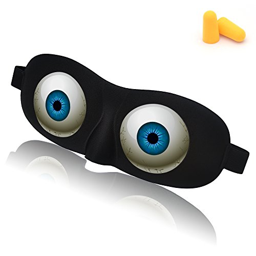 Hycles Sleep Eye Mask with 3D Angel Eye Labeling & Ear Plugs Ultra lightweight Blindfold Polyster Eyeshade Adjustable Strap Halloween Gifts for Men Women and Kids (Convex eye)