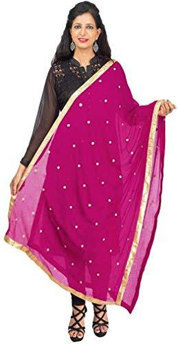 TMS Woman's Embroidered Chiffon Dupatta Scarf Shawl Wrap Soft Indian Bridal Wedding (Violet Red)