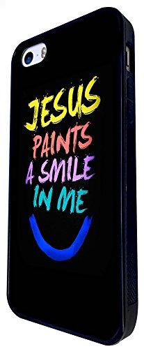 1196 - Jesus Paints A Smile In Me Christian Prayer Design iphone SE - 2016 Coque Fashion Trend Case Coque Protection Cover plastique et métal - Noir