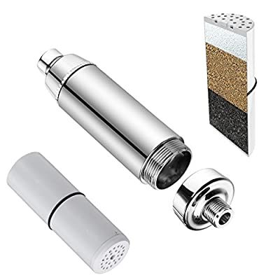 DSIKERHigh Intensity Super Compact Shower Filter with Replaceable 3 Stage Shower Filter Cartridge,Removes Chlorine, Water Softener, Perfect for Skincare, The Best Luxury Water Filter System - Chrome