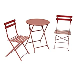Cosco 3-Piece Folding Bistro-Style Patio Table and Chairs Set, Red