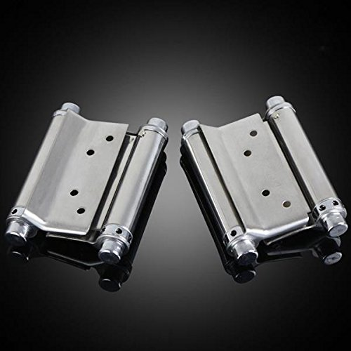 HomDSim 2PCS 3-6 inch Home Hardware Stainless steel Self Closing Double Spring Hinge two way open (3inch)