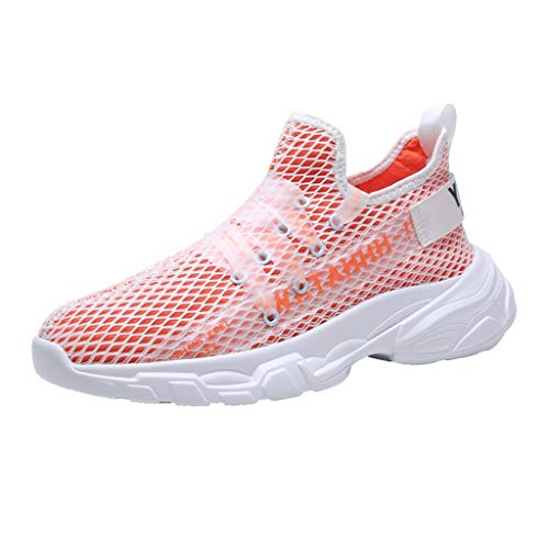 Boss Orange Lace Up Sneakers - WILLBE Men's Outdoor Sneakers Mesh Breathable Running Shoes Non-Slip Sneakers Lace-Up Sneakers Athletic Sneakers Orange