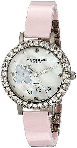 Akribos XXIV Women's AK762SSPK Swiss Quartz Movement Watch with White Mother of Pearl Dial with Printed Flowers and Pink Ceramic Bracelet