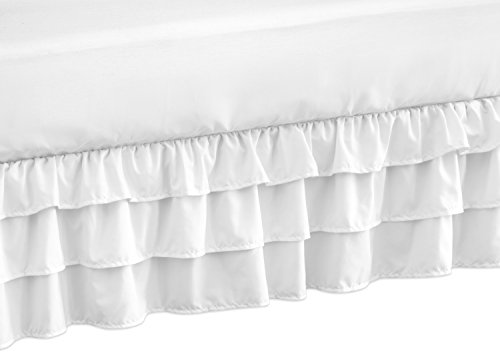 Collection Dust Ruffle - Solid Color White Shabby Chic Girl Ruffled Tiered Crib Bed Skirt Dust Ruffle for Harper Collection by Sweet Jojo Designs