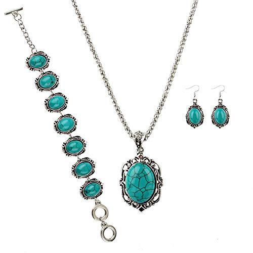 - 4Pcs/Set Women Vintage Faux Turquoise Flower Pendant Necklace Hook Earrings Bracelet