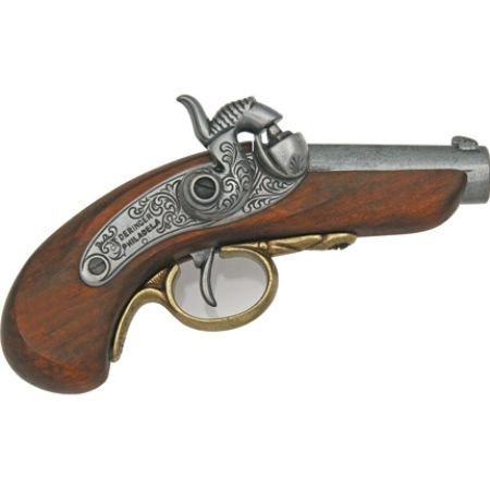Percussion Pistol (Denix Replicas 1018G Nickel Silver Baby Philadelphia Derringer)