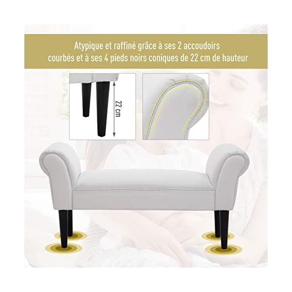 Homcom Banc Banquette Design Contemporain accoudoirs courbés Grand Confort 102L x 31l x 51H cm Blanc