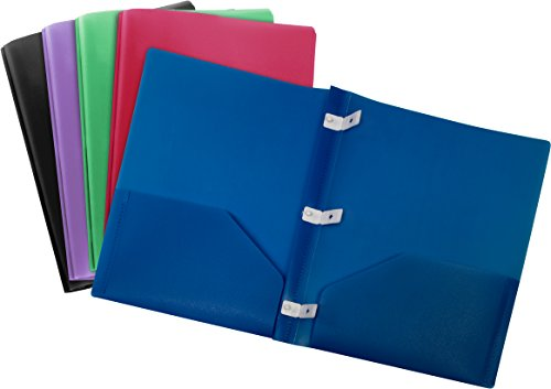 Storex Thicker Poly Two-Pocket Folder with Plastic Prongs, Assorted Colors, 5-Pack (50324U01C)