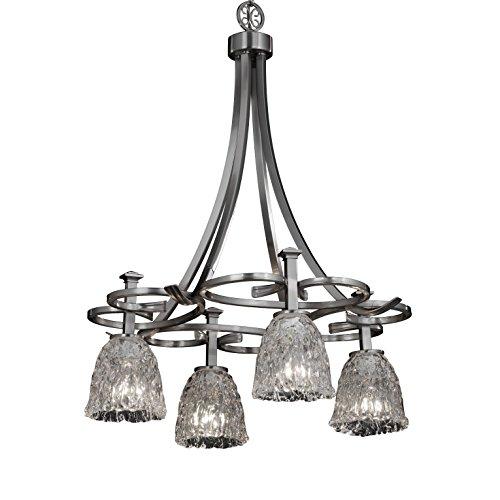 (Justice Design Group Lighting GLA-8565-56-CLRT-NCKL Veneto Luce 4-Light Chandelier, 27