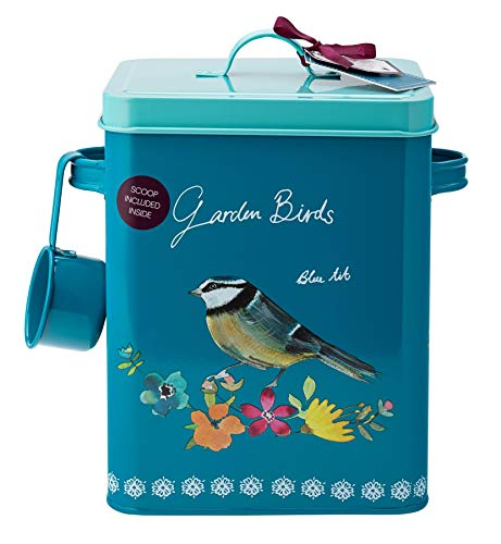 Tableware English - English Tableware Company Food Storage Tin - Bird Seed Tin Canister - Garden Birds Design - With Scoop 9.5