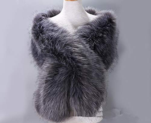 b23a88d578a24 Deep Silver Gray faux fur bridal wrap, light brown fur, Wedding Fur ...