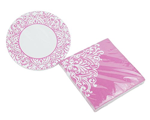 - Royal Princess Pink - Dessert Plates & Napkins - Serves 20 (40 Pieces)