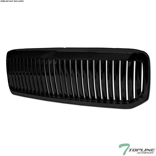 (Topline Autopart Black Vertical Badgeless Front Hood Bumper Grill Grille ABS For 99-04 Ford F250 F350 Super Duty / 00-04 Excursion)