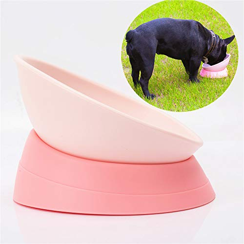 JWPC Bulldog Bowl Anti-Slip Dog Cat Dish Detachable Rubber Dog Bowl Pet Sterile Tilted Pet Feeder Slope Base,Pink