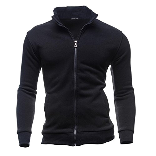 Hombre Plus Size Costumes (Men Autumn Winter Leisure Sports Cardigan Zipper Sweatshirts Tops Jacket Coat (L, Black))
