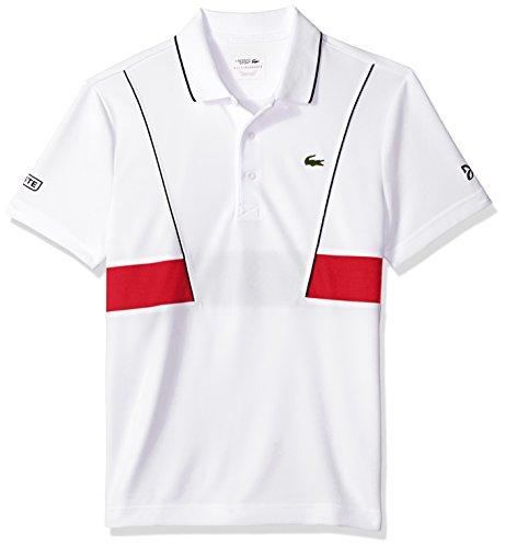 e5a487f5 Lacoste Men's Short Sleeve Pique Ultra Dry with Contrast Broken Yoke &  Piping Polo, DH3325