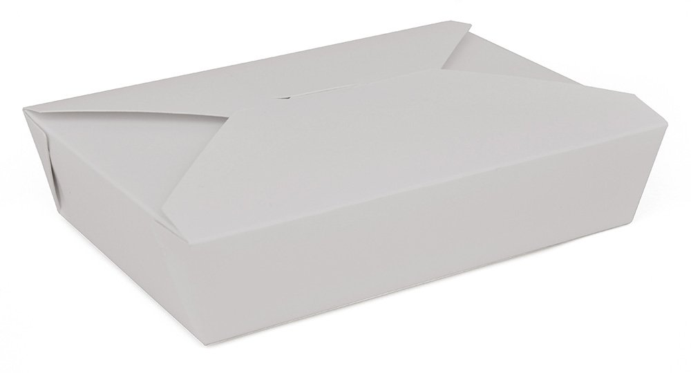 7.75'' x 5.5'' x 1.875'' White Paper Carryout/Takeout Food Box Container by MT Products - (15 Pieces)