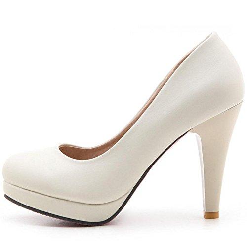 Alto Beige Mujer JOJONUNU Zapatos Moda Tacon 1ZZzF4