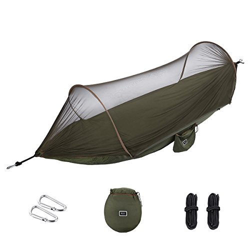 isYoung 【Cyber Monday Deal】 Hammock with Mosquito Net Parachute Fabric Hammock Net, Durable and Portable, Suit for 2 Persons, Tree Tent, Outdoors (Army Green)