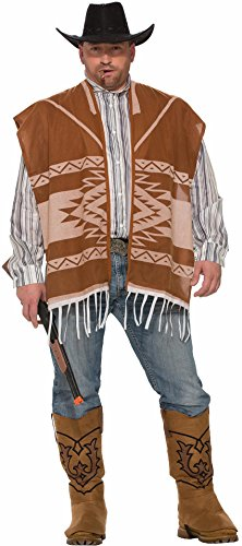 Forum Men's Western Lonesome Cowboy Poncho and Shirt Combo Costume, As Shown, XL (Lonesome Cowboy Costume)