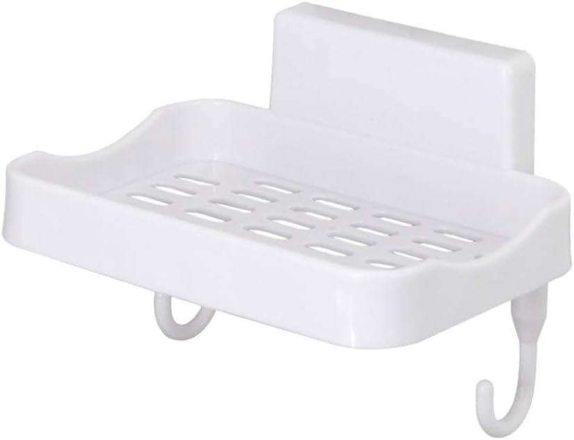 TOPBATHY Portasapone Adesivo da Parete in plastica Shampoo Senza forature scolapiatti salvaspazio per Cucina e Bagno lozioni per Sapone Bianco