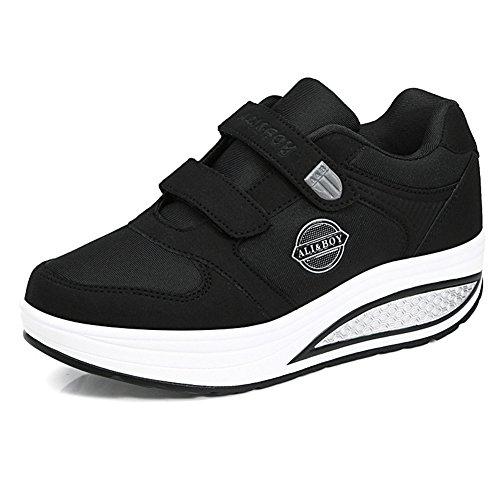 la de tamaño de la Primavera Mediana Sacudida Madre de Las Cascada 37 Negro Mediana Mujeres Antideslizante Zapatos Negro Bottom Zapatos Edad Edad Suave Casuales Ancianos de Color 5IEwqznS