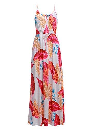 HUSKARY Womens Sleeveless V Neck Spaghetti Strap Pockets Beach Boho Tropical Summer Maxi Dress