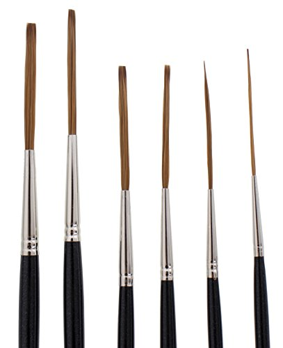 Andrew Mack Brush AMVD-SL-Set Von Dago Saber Liner Set of 6 Pinstriping Brushes Sizes 4/0-6 by Andrew Mack Brush (Image #1)