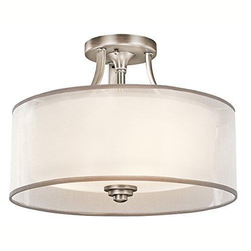 Antique Pewter Semi Flush (Kichler 42386AP, Lacey Semi-Flush Ceiling Light, 3 Light, 300 Watts, Antique Pewter by Kichler Lighting)