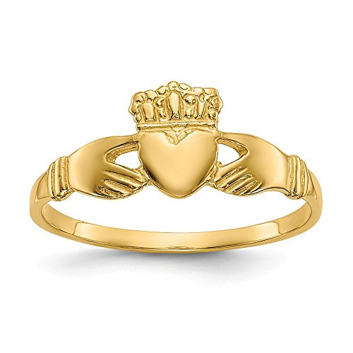 - 14k Yellow Gold Ladies Irish Claddagh Celtic Knot Band Ring Size 6.00 Fine Jewelry Gifts For Women For Her