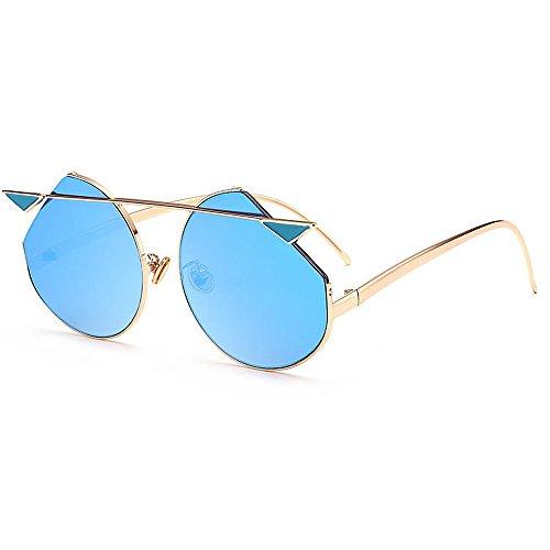 la Summer conducción Rimmed UV Aire de para Beach Ojos Moda Azul Tonos Azul Cat Libre Vacation Proteccion Metal al Sunglasses Mujeres Godbb Protección para Color de Eyes Personalidad ZR0Oq6w