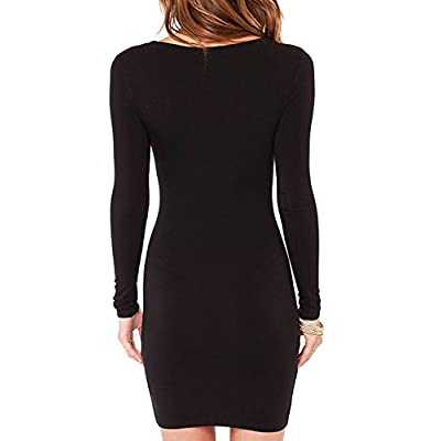 Haola Women's Sexy Casual Long Sleeve Short Dress Mini Dress at Women's Clothing store
