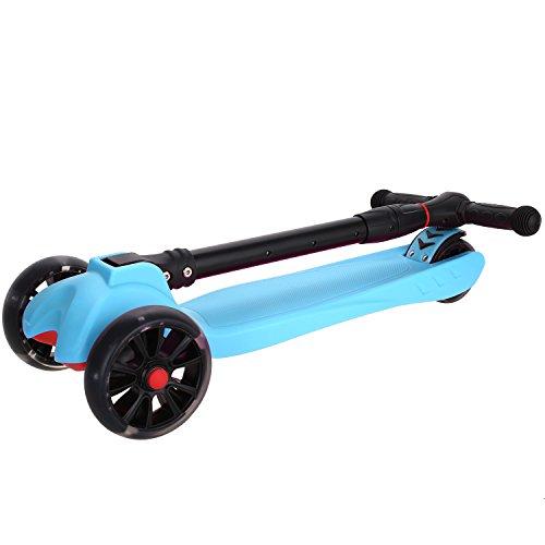 AMdirect faltbares Trittbrett Kinderscooter Kinderroller, Tasche Scooter, höhenverstellbarer und faltbarer Kick Roller Tret-Roller mit 3-blinkenden PU Rädern, speziellem Faltsystem