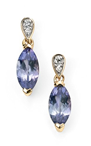 Jewellery World Bague en or jaune 9carats et diamant marquise Tanzanite Boucle d'oreilles