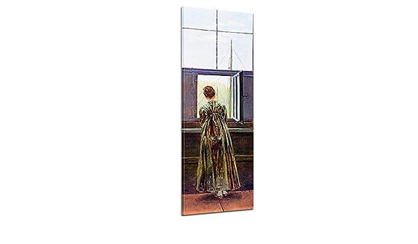 Bilderdepot24 Imagen Lienzo Foto Panorama Caspar David Friedrich - Viejos Maestros Mujer en la Ventana 50x160 cm - Totalmente Enmarcado, Directamente del Fabricante: Amazon.es: Hogar
