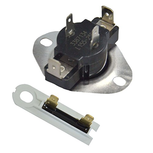 ATMA 3387134 & 3392519 Cycling Thermostat And Thermal Fuse Replacement Part For Whirlpool,Kenmore KitchenAid Roper, Maytag Dryers (Thermostat Kenmore)