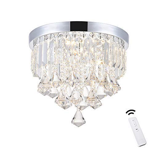 (ANKEE Smart Contemporary LED Ceiling Crystal Chandeliers - Modern Flush Mount Ceiling Light, Work with Alexa and Google Assistant (Diamond 11.8