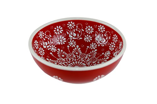Handmade Ceramic Decorative Soup and Cereal Bowls - Set of 2 - different colors and patterns - 6 inch - 16 oz great serving Bowls (Greek red) (2 Large Rimmed Soup Bowls)