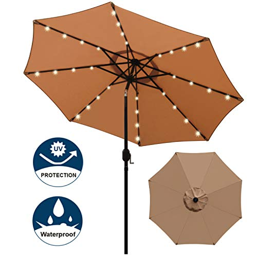 Blissun 9 ft Solar Umbrella 32 LED Lighted Patio Umbrella Table Market Umbrella with Tilt and Crank Outdoor Umbrella for Garden, Deck, Backyard, Pool and Beach (Tan)