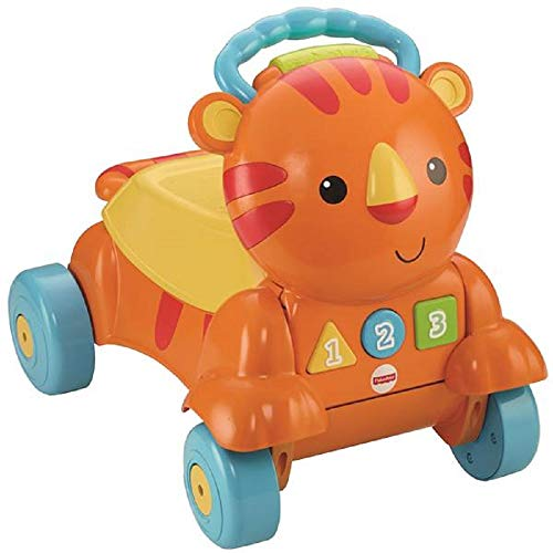 Fisher-Price Stride-to-Ride Musical Tiger, 2 in 1 Walker and Ride-On, Battery Operated Lights and Sound, 9m+ (Tigers Batting)