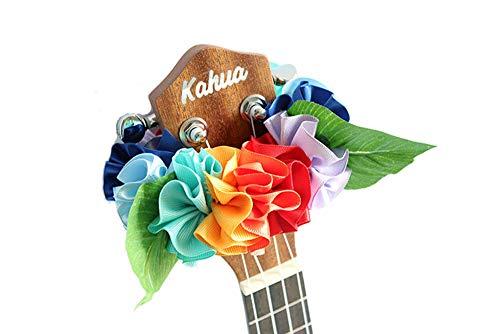 - ukuhappy Ukulele Ribbon Leis Hawaiian Crafts Ukulele Accessories Hibiscus (rainbow)