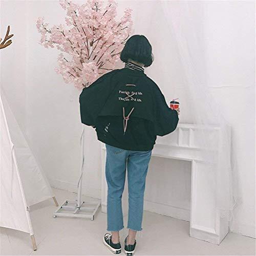 Giacche Donna Grazioso Lunghe College Relaxed Maniche Casual Outerwear Lacci Bomber Cappotto Eleganti Fashion Stlie Pilot Autunno Stampate Schwarz Con Giacca Fpq51wYx